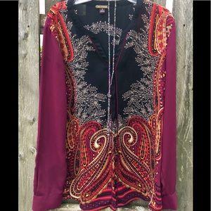 Dana Buchman Colorful Women's Tunic Blouse sz 8